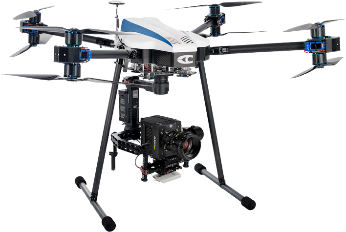 Il drone della Cinefly Maverick per riprese cinematografiche e produzione video professionale.