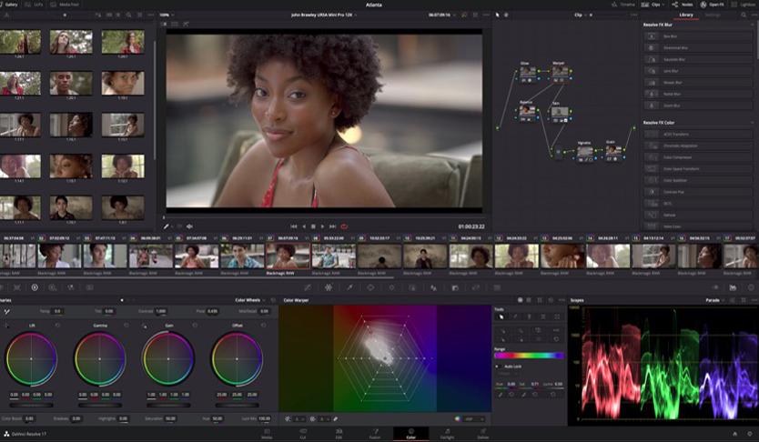 Schermata del programma, Davinci Resolve per la correzione del colore nella produzione video.