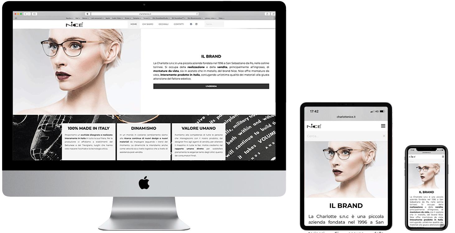 Mac, i pad e i phone con home page del sito charlottenice